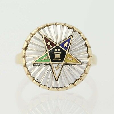 NEW Order of the Easter Star Ring - 10k Yellow & White Gold Enamel OES Masonic