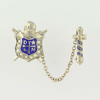 Demolay Pin - 14k White Gold Pearls Masonic Youth Crest Blue Enamel