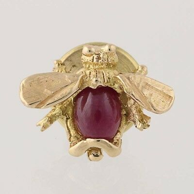 Ruby Bee Lapel Pin - 14k Yellow Gold Cabochon Cut Solitaire .45ct