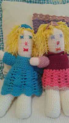 PAIR OF Hand Made Dolls Crochet Soft New, Rag Dolls wClothes