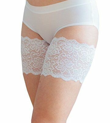 "Dolce Bandelettes Anti-Chafing Lace Thigh Bands White 21""-32"" 6 Sizes"
