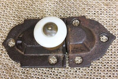 Cabinet tiny catch rustic Cupboard Latch old vintage 1870s porcelain knob 2 3/4""