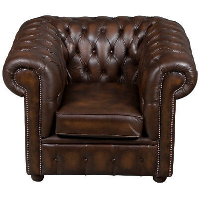 Vintage Antique Style Brown Leather Tufted Club Chair Arm Armchair English FS!