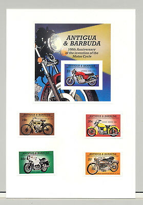 Antigua #840-844 Motorcycles 4v & 1v S/S Imperf Proofs on Card