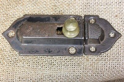 "Cabinet catch Cupboard Latch old antique brass knob 1870's vintage 4 1/8"" iron"