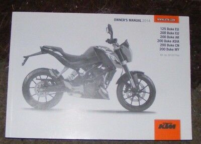Ktm 125 Duke Eu / 200 Duke Eu - Ar - Asia - Cn / 200 Duke My Owners Manual  2014