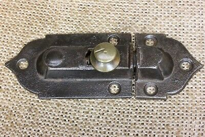 "Cabinet catch Cupboard Latch old antique 1870's brass knob 3 5/8"" rustic iron"