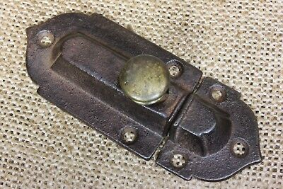 "Cabinet catch Cupboard Latch old antique 1870's brass knob 3 1/4"" rustic iron"