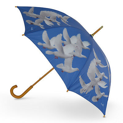 Cascada Collection Art Print Wood Handle Walking Umbrella - White Doves