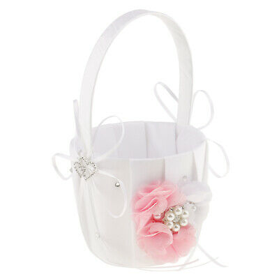 Fashion Wedding Ceremony Party Flower Girl Basket Pearl Feather Bowknot Decor