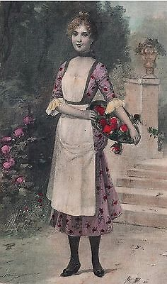 Vintage Postcard Young Woman with Flowers Unused