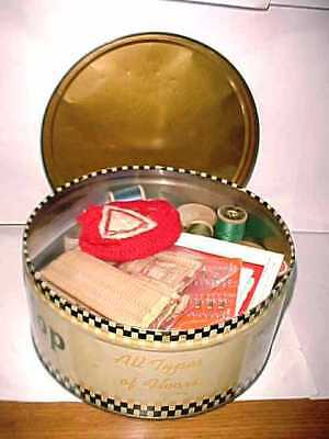 Vintage O-Cedar Tin Full Of Vintage Sewing Notions-Thread,Needles,Bobbins