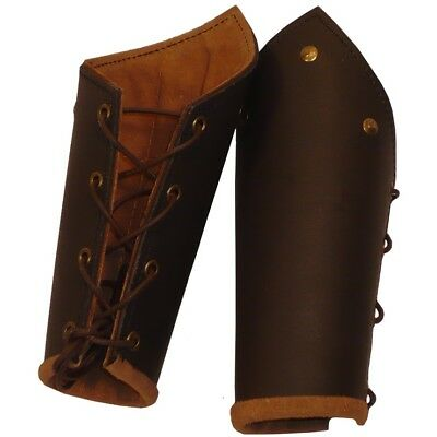 Knights Battle Arm Brown Bracers SCA LARP Renaissance Cosplay