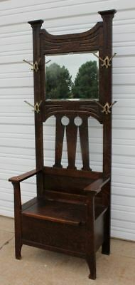 Mission Arts & Crafts Quartersawn Oak Hall Seat Bench Bevel Mirror 4 Hooks OLD