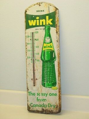 Vintage Advertising Thermometer Wink, Canada Dry, Pop, Soda, Original