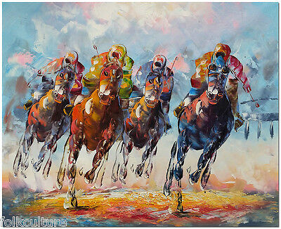 Hand Painted Horse Racing Oil Painting On Canvas 50x60cm - Cheltenham Festival