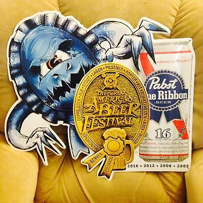 Pabst blue ribbon beer tin sign