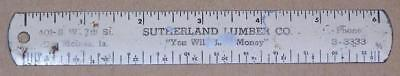 "Collectible Tin Advertising 6"" Ruler, Sutherland Lumber Co., Des Moines, Iowa"