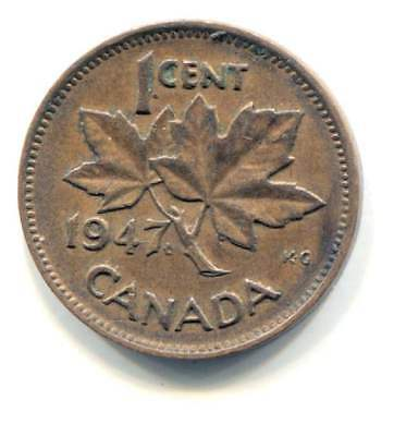 1947 Canadian 1 Cent Maple Leaf Penny Coin - Canada - King George VI