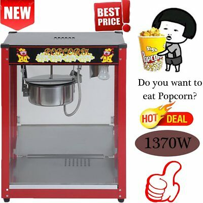 1370W Commercial Stainless Steel 8oz Popcorn Machine Cooker Tempered Glass BAP