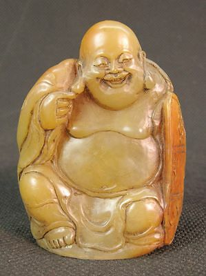 Chinese Happy Buddha Carved Shoushan Stone Seal Stamp Signet