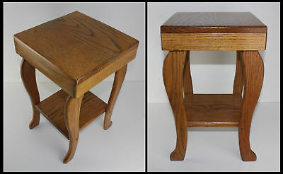 """Vintage Heavy Solid Oak Small Table 12"""" x 12"""" x 20"""" Bed Night Flower Plant Stand"""