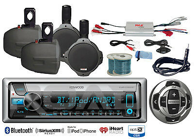 "Kenwood Marine Bluetooth CD Radio/Remote/Antenna,6.5"" Speakers &Wires, Amplifier"