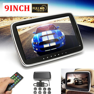 "9""Car HD LCD Touch Screen Player Headrest Pillow Monitor Mount SD/MP5/MP3/USB/FM"