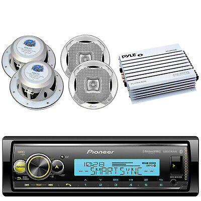 "4 Marine 6.5"" Speakers, Kenwood CD Bluetooth USB Marine Receiver, 400W Amplifier"