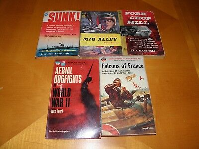 Lot of 5 Vintage WWII Non-Fiction & Novels Paperback Books 1958-1962 USED GOOD 2