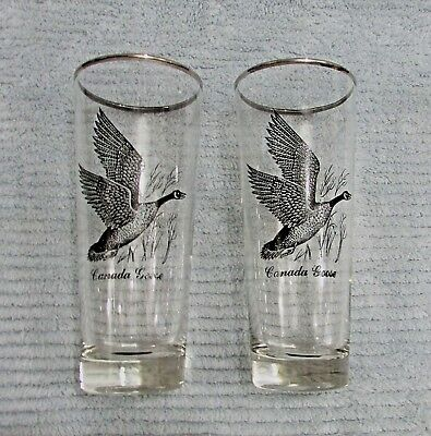 Two Vintage Canadian Canada Goose vintage black on clear whiskey glasses FREE SH