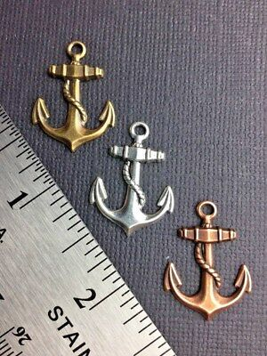 Anchor Charm w/Loop Brass Jewelry Finding Silver Ox, Brass Ox & Copper Ox