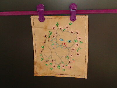 Vintage Embroidery of a Cute Cat with Ribbon and Flowers 1940's - 1950's