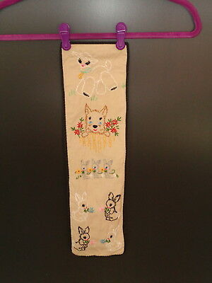Vintage Embroidery of a Cute Lamb, Dog, and Rabbits 1940's - 1950's
