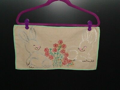 Vintage Embroidery of Two Cute Bunnies with Flowers 1940's - 1950's