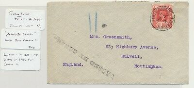 """SIERRA LEONE 1917 CENSOR COVER TO UK, """"PASSED BY CENSOR""""BLUE CRAYON, 1d RATE"""