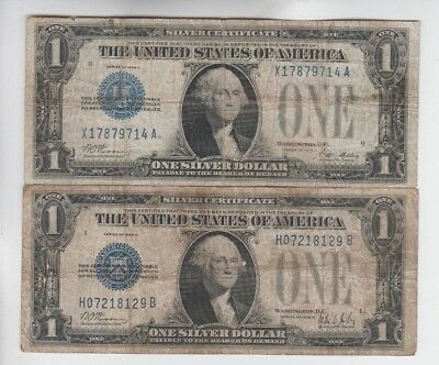 Silver Certificate $1 1928's 2 notes low grade