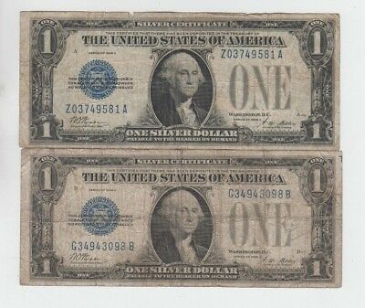 Silver Certificate $1 1928-A 2 notes vg-f stains and tear