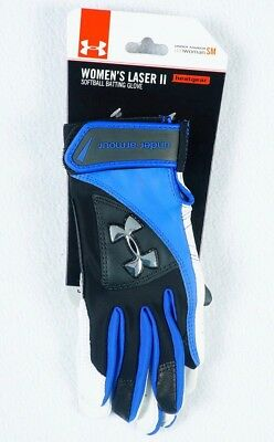 Under Armour Women's Laser II Softball Batting Glove S Small Blue Black White UA