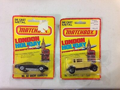 Vintage lot of 2 Matchbox cars Chevy Corvette, Ford A, London Holiday, free ship