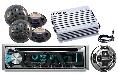 """Amplifier,Antenna,5.25""""Speakers,Kenwood Bluetooth CD USB Boat Radio,Wired Remote"""