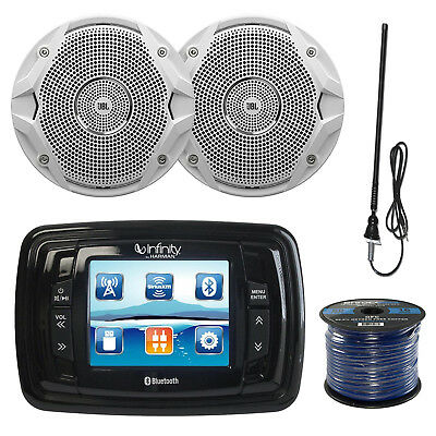 "AM/FM USB Bluetooth Marine Stereo, 6x 6.5"" White Speakers, 50 FT Wire, Antenna"