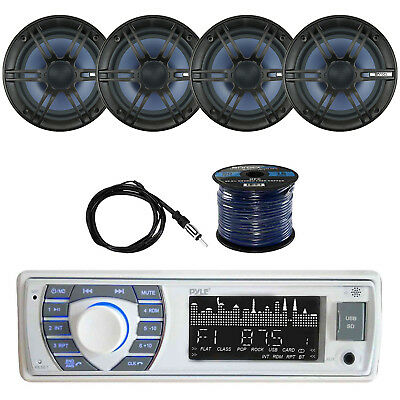 Bluetooth Marine Receiver Stereo w/Enrock Coaxial Speaker, Antenna & SPKR Wire