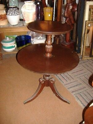 Mahogany End Table Dumbwaiter Vintage Antique 2 Tier Duncan Phyfe Hollywood Glam