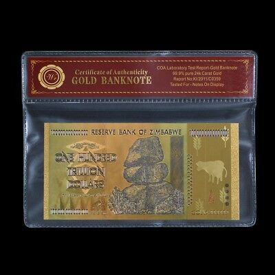 Zimbabwe 100 Trillion Coloured Gold Banknote Plated With Certificate (Zm1CC)