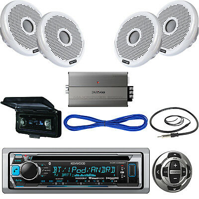 "KMRD372BT USB Boat CD Bluetooth Radio,Remote,4"" Speakers/Wires,Amp,Antenna,Cover"