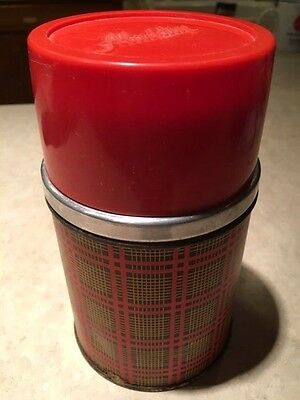 Vintage Aladdin's Pint Vacuum Thermos Bottle Wide Mouth Red Plaid - FUNDRAISER