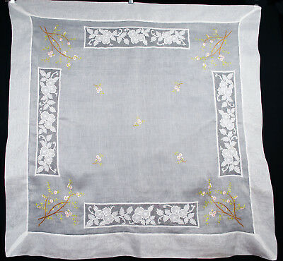 """1920's ROYAL SOCIETY SILK EMBROIDERY ORGANDY TABLECLOTH WITH NET INSERTS 50"""" SQ"""