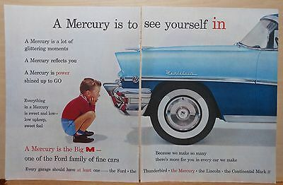 Vintage 1956 two page magazine ad for Mercury - A Mercury is to see yourself in