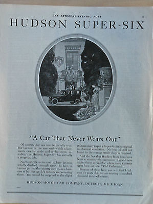 1921 magazine ad for Hudson - A Car that Never Wears Out, Super Six